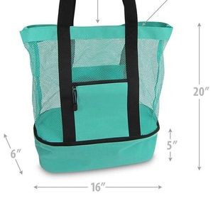 Bags - Elever teal mesh beach tote